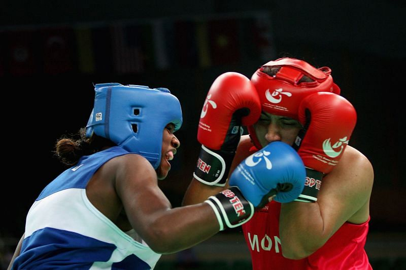 Pooja Rani (Red) of India during the AIBA Women