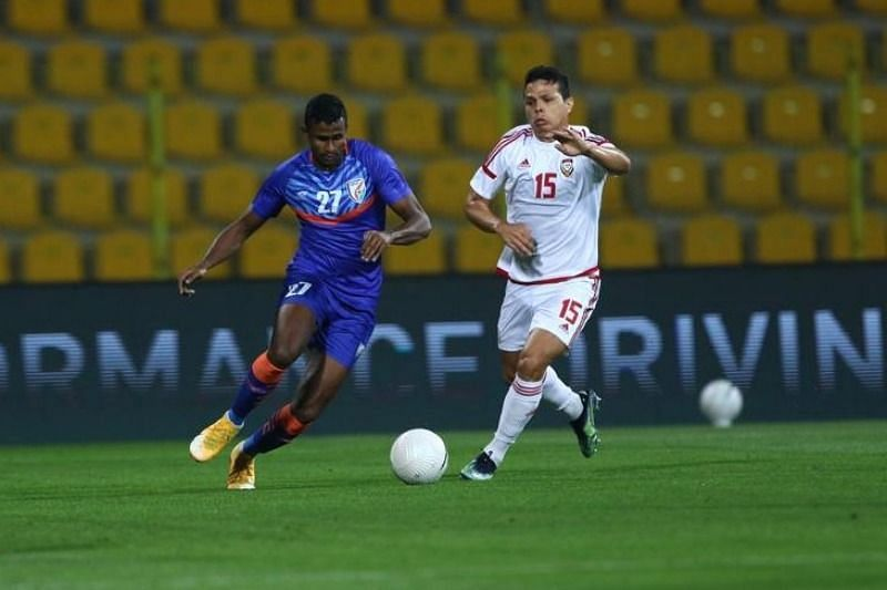 NorthEast United FC player Mashoor Shereef in action for India against UAE in their international friendly match (Image Courtesy: AIFF Media)