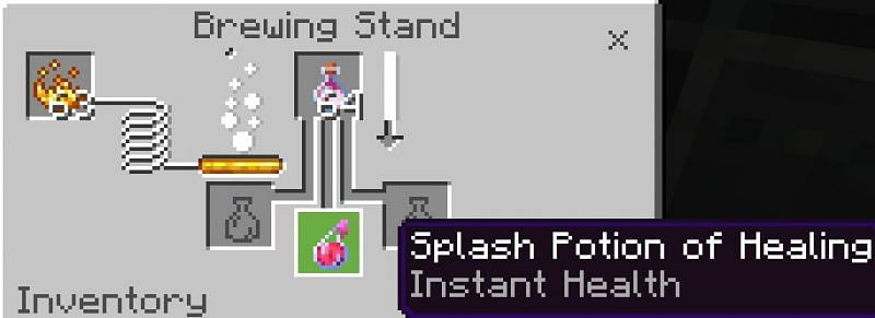 You then want to put your base potion of choice; in this case, we will use a potion of splash healing to create a potion of lingering healing.