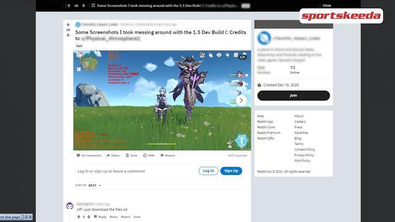 Players using the Genshin Impact V1.5 Beta development build to spawn new bosses (Image via RedDeadRevenge)