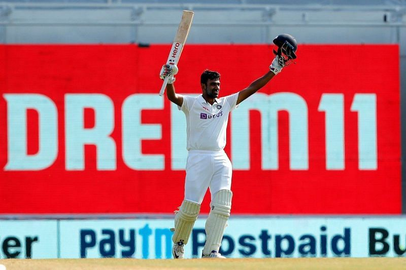 Ravichandran Ashwin celebrates after scoring his fifth Test hundred.