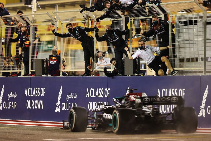 Lewis Hamilton wins the first race of 2021. Photo: Bryn Lennon/Getty Images)