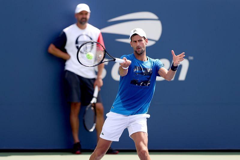 Novak Djokovic training under the watchful eyes of Goran Ivanisevic