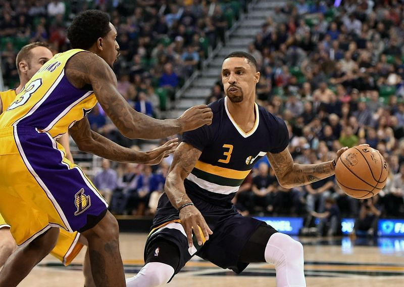 George Hill (R) in action