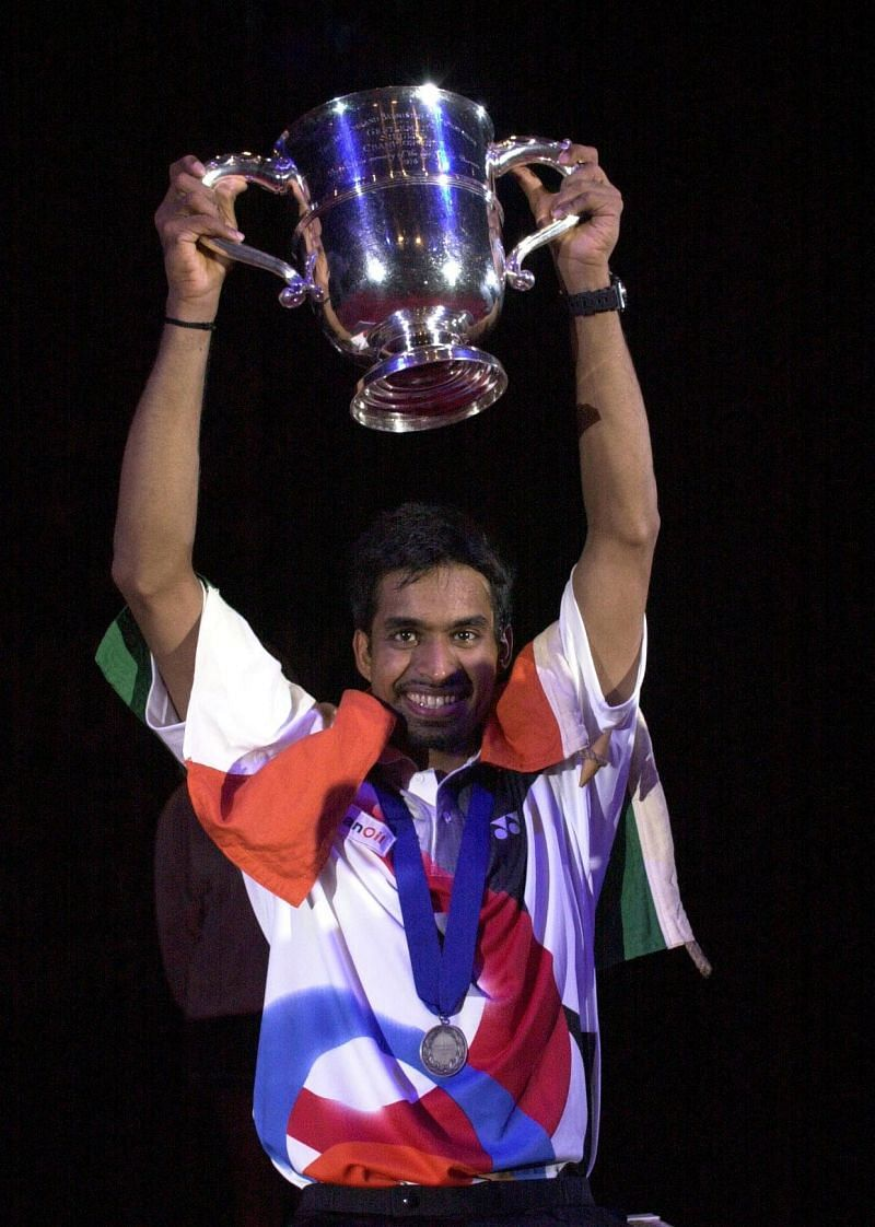 Pullela Gopichand with his trophy at All England Badminton Championship