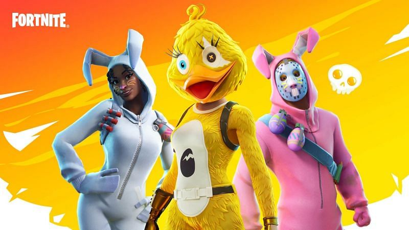 Spring Breakout outfits in Fortnite Season 6 - Bunny Brawler, Rabbit Raider, and Quackling (Image via Epic Games)