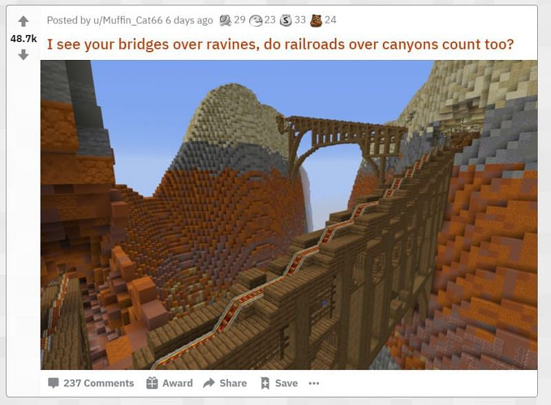 A railroad built over canyons in Minecraft (Image via u/Muffin_Cat66/reddit.com)