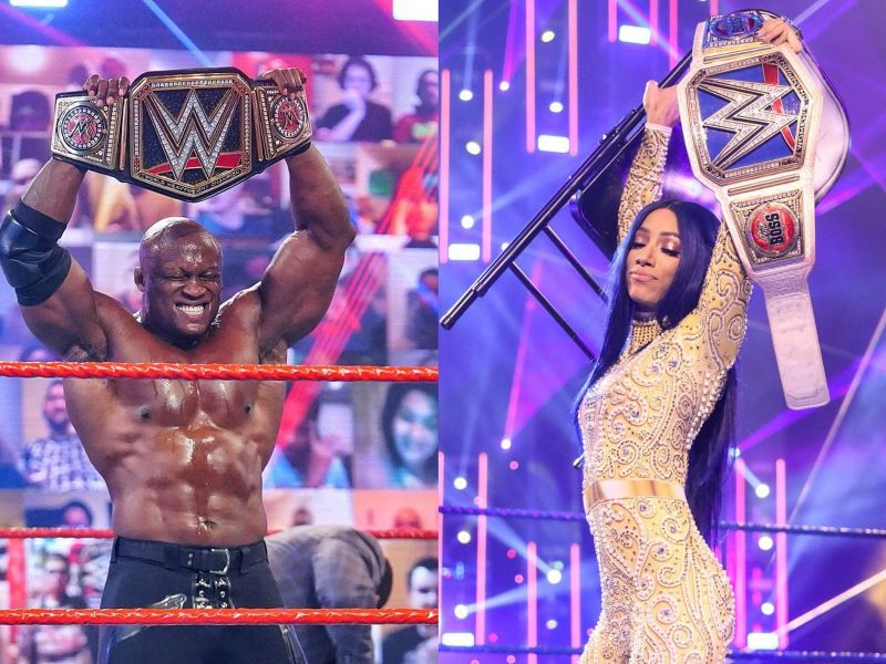 Bobby Lashley and Sasha Banks Drew McIntyre and Randy Orton competed for the WWE Championship inside the Elimination Chamber The current WWE NXT Champion Finn Balor