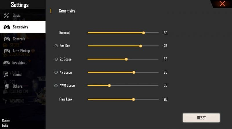 Sensitivity settings that the players can take as a base