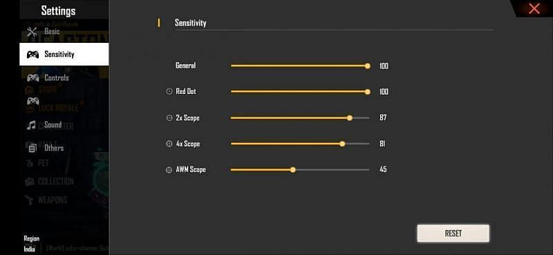 Sensitivity settings in Free Fire for 4GB RAM devices