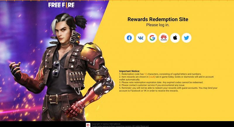 Redemption website of Free Fire