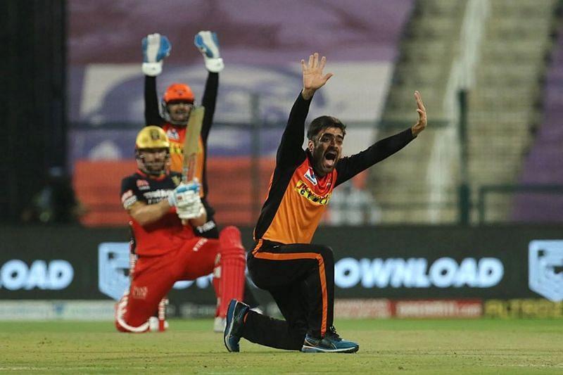 Rashid Khan of the Sunrisers Hyderabad in IPL action