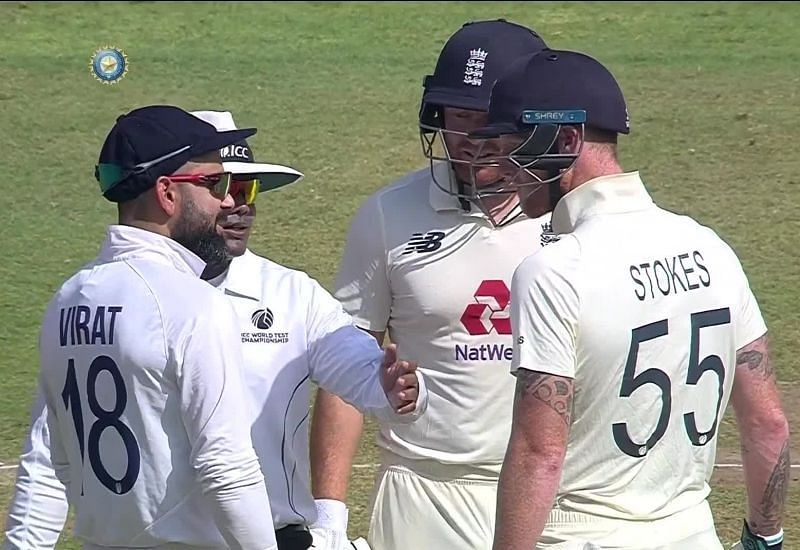 Virat Kohli and Ben Stokes having a go at each other. Pic: BCCI