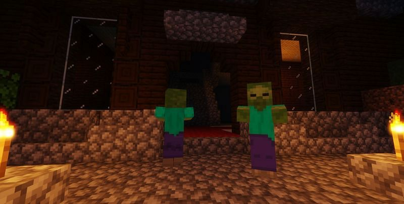 Shown: Two zombies loitering in front of a Woodland Mansion (Image via Minecraft)