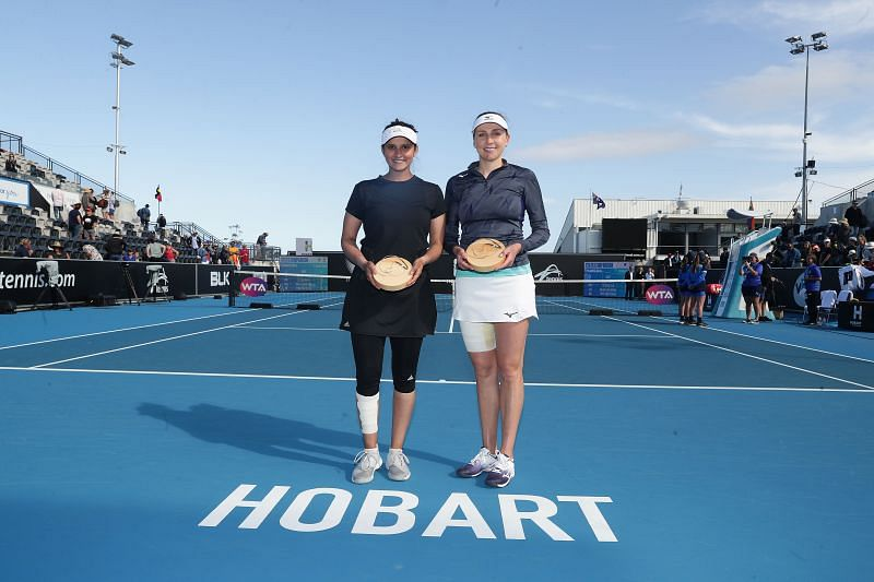 Nadiia Kichenok and Sania Mirza after winning the doubles final at the 2020 Hobart International in Hobart, Australia