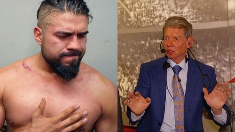 Andrade and Vince McMahon.