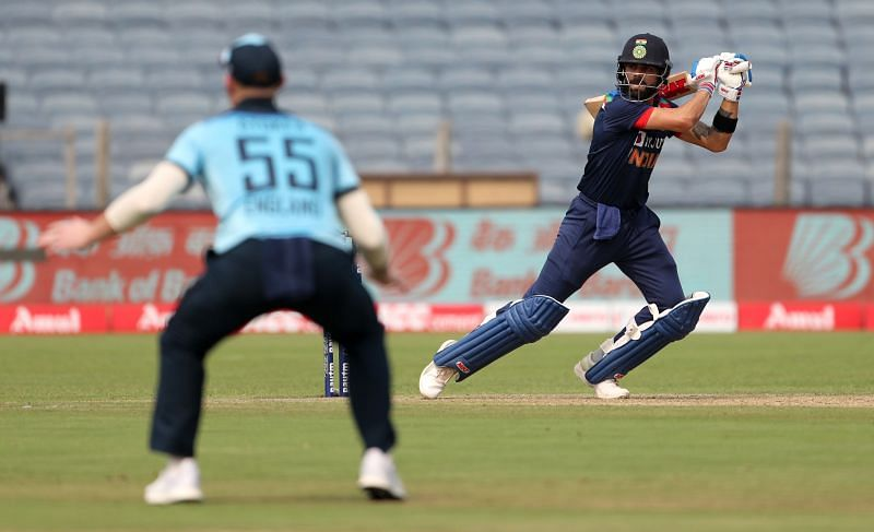 Virat Kohli scored 56 runs from 60 deliveries in the first India vs England ODI