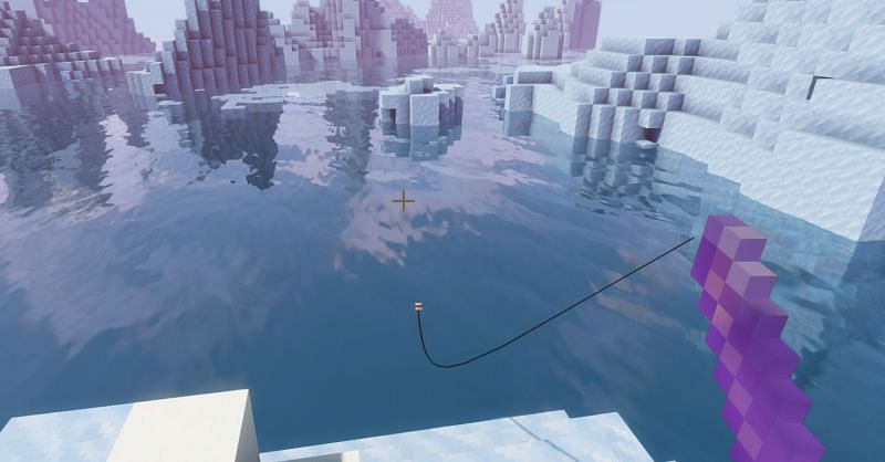 Shown: A player using a Mending enchanted fishing rod in a beautiful location (Image via Minecraft)
