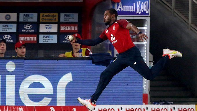 Chris Jordan pulling off a stunning effort in the fifth T20I against India (PC: ICC/Twitter)