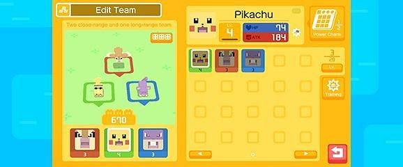 The team-editing menu in Pokemon Quest (Image via The Pokemon Company)