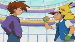 Ash and Gary talking prior to their battle (Image via The Pokemon Company)