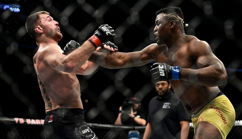 Stipe Miocic (left); Francis Ngannou (right)