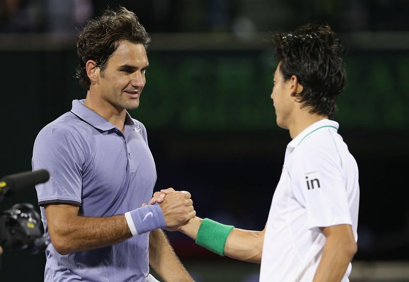 Roger Federer and Kei Nishikori
