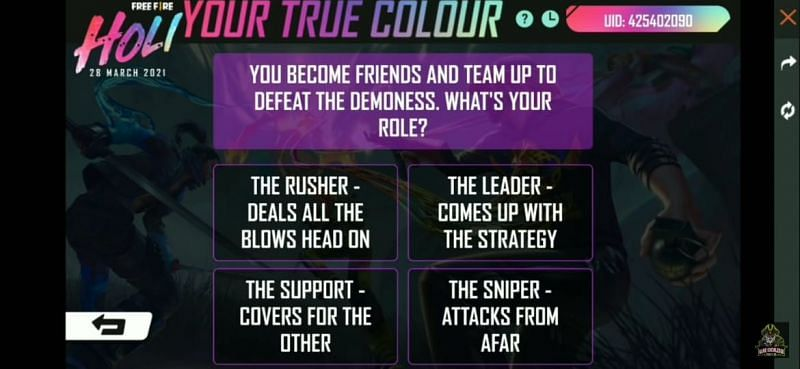 Your True Colours event in Free Fire
