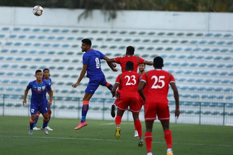 Indian Football team in action against Oman in their friendly match (Image Courtesy: ISL Media)