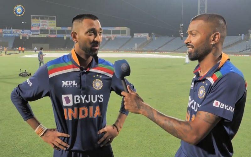 Krunal Pandya and Hardik Pandya. Pic: BCCI