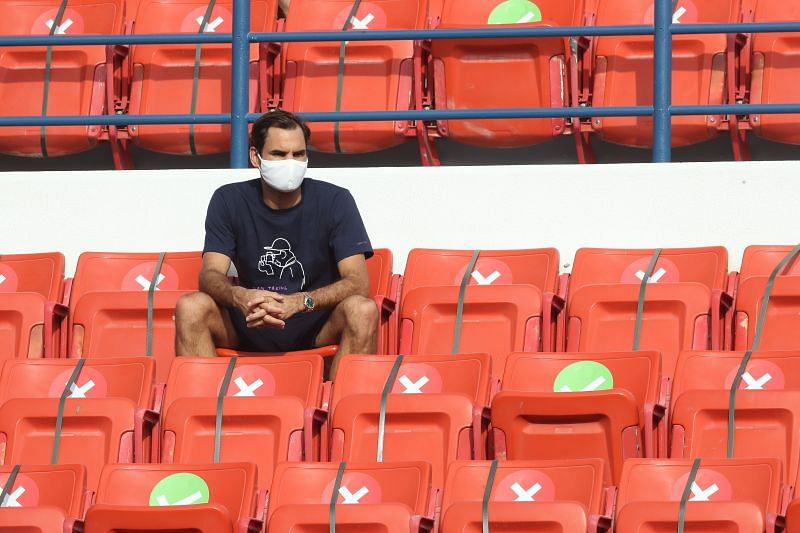 Roger Federer in the stands during Jeremy Chardy vs Daniel Evans at the Qatar ExxonMobil Open 2021