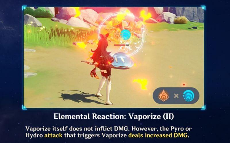 Vaporize reaction in Genshin Impact (Image via miHoYo)