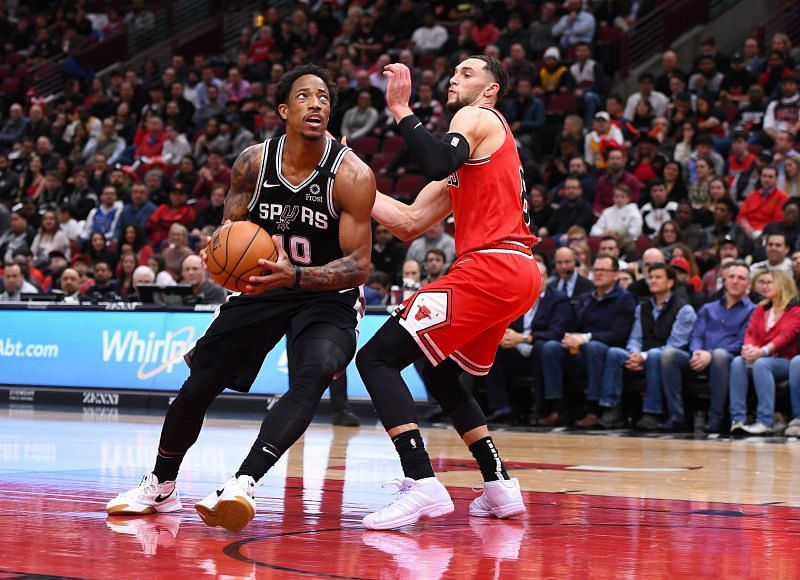 DeMar DeRozan of the San Antonio Spurs in NBA action against Zach LaVine of the Chicago Bulls