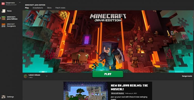A view of the wonderful Minecraft launcher (Image via Mojang)