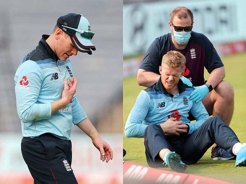 Eoin Morgan and Sam Billings in the 1st ODI vs India (Image credit @toisports twitter)