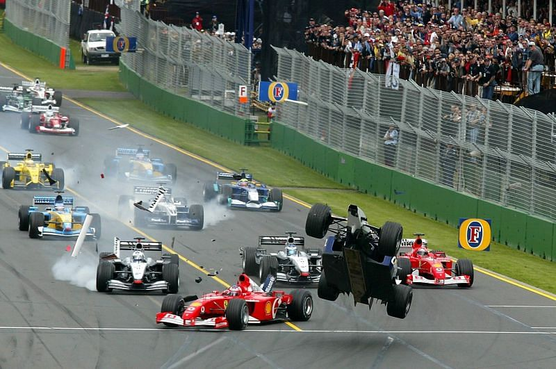 The infamous pile-up at the 2002 Australian Grand Prix. Photo: Allsport UK/Getty Images.