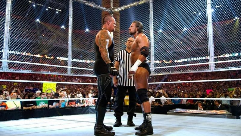 """The Undertaker defeated Triple H in a Hell in a Cell match billed as the """"End of an Era"""" at WrestleMania XXVIII"""