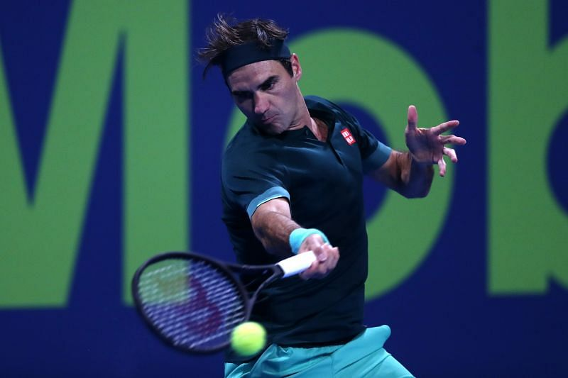 Roger Federer in action in Doha
