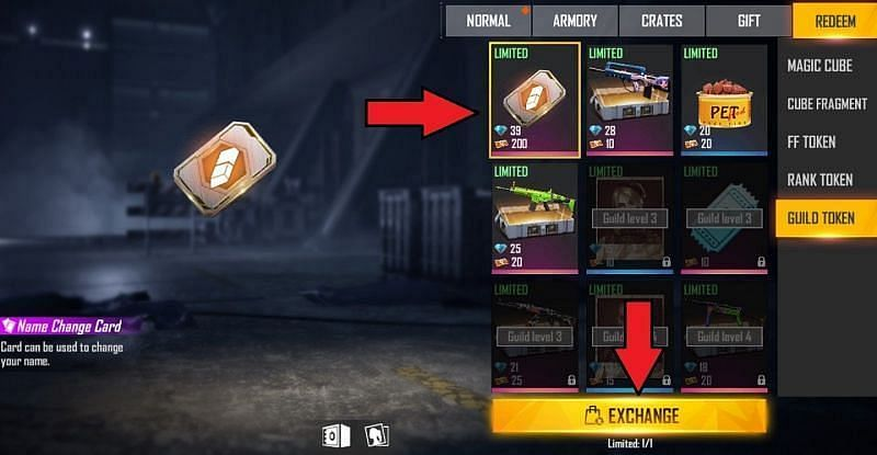 Select the card and click on the Exchange button