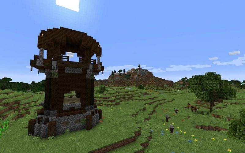 Minecraft pillager outpost (Image via minecraftseedhq)
