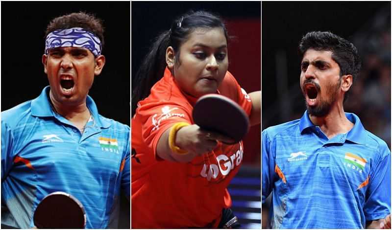 (From L) Achanta Sharath Kamal, Sutirtha Mukherjee, and G Sathiyan have qualified for Tokyo Olympics