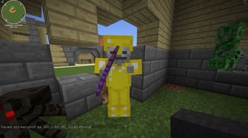A super rare Skeleton with Gold Armor and an Enchanted Bow (Image via u/ColdChemical on Reddit)