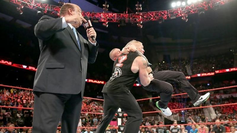 Randy Orton executing an RKO on Brock Lesnar