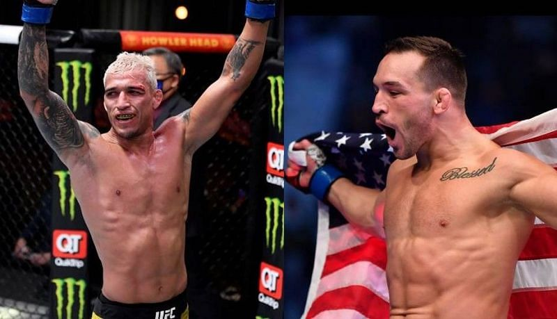 Charles Oliveira (left); Michael Chandler (right)