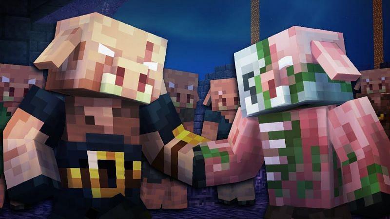 Piglin Brute vs Zombified Pigmen (Image via YouTube)
