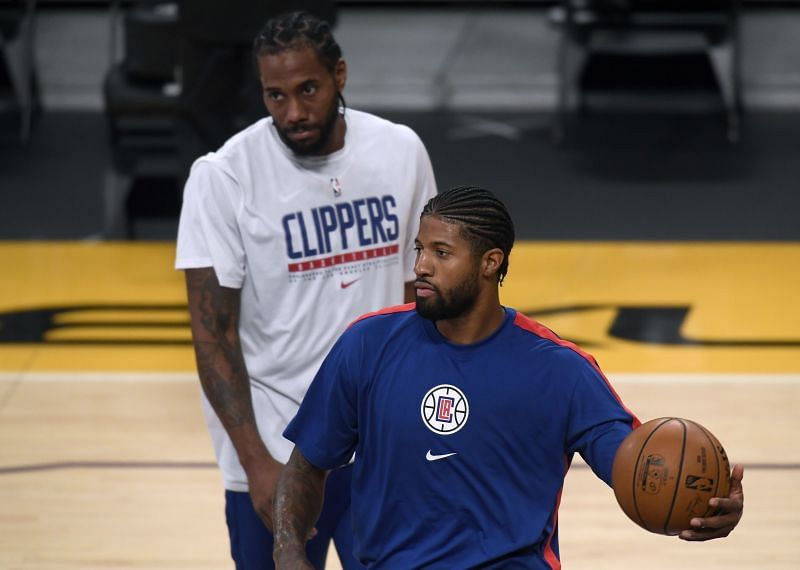 Paul George #13 and Kawhi Leonard #2 of the LA Clippers.