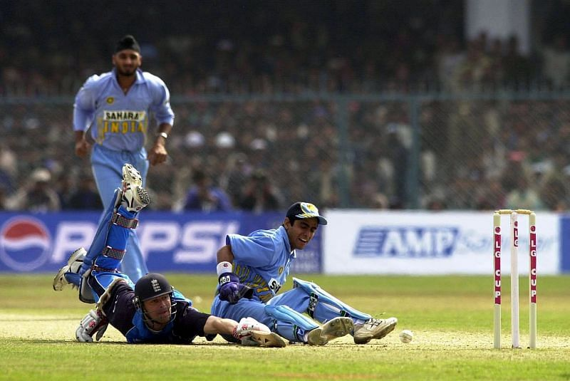 Ajay Ratra trying to effect a run out against England in 2002.