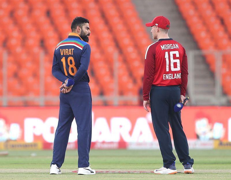 Virat Kohli (left) and Eoin Morgan