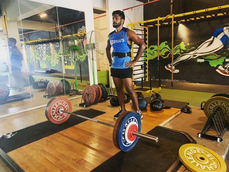 Sanju Samson at the gym