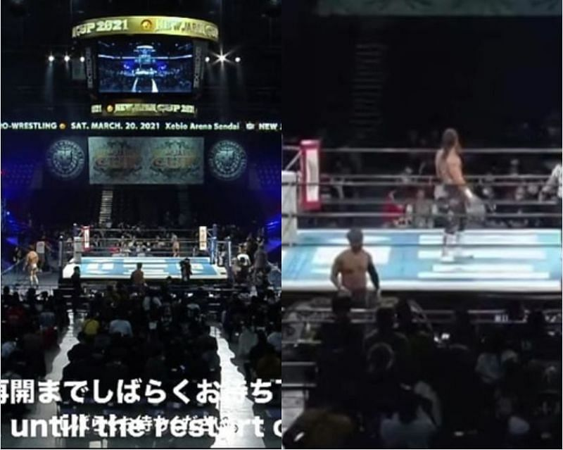 The NJPW broadcast was interrupted due to an earthquake